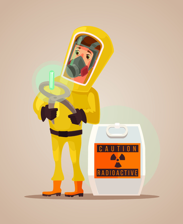 environmental suit: Man in protective suit hold radioactive garbage emissions. Vector flat cartoon illustration