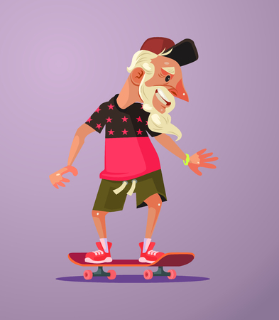 Grandfather character ride skater. Vector flat cartoon illustration
