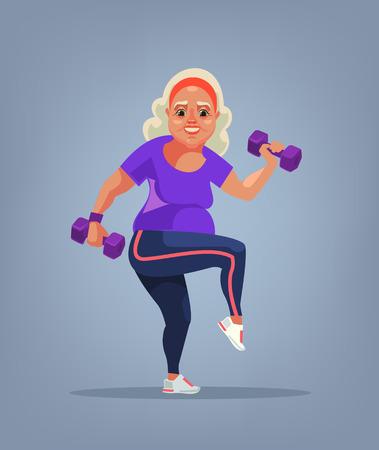 Carácter de abuela haciendo ejercicio. Ilustración de dibujos animados plano de vector