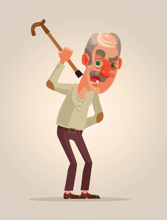 Angry old man character. Vector platte cartoon afbeelding