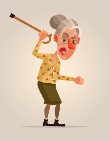 怒っている老婆の文字。ベクトル フラット漫画イラスト