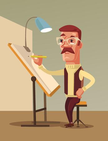 Artist man character draws. Vector flat cartoon illustration