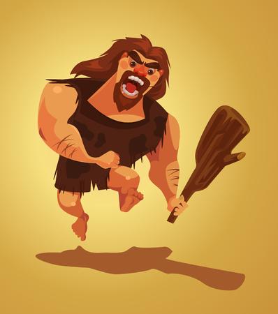 hunt: Angry caveman character run. Vector flat cartoon illustration