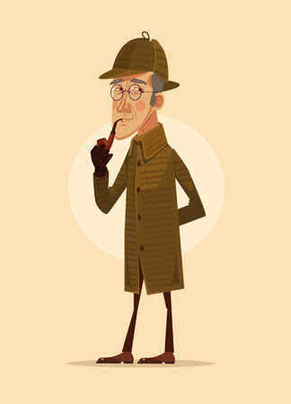 Detective man character smoking pipe. Vector flat cartoon illustration Illustration