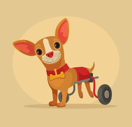 lame: Disabled dog character in wheelchair. Vector flat cartoon illustration Illustration