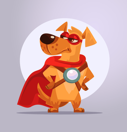 Dog superhero character in mask. Vector flat cartoon illustration