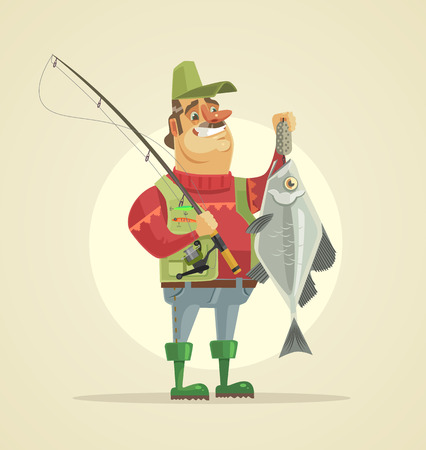 幸せな漁師の文字は、大きな魚を保持します。ベクトル フラット漫画イラスト  イラスト・ベクター素材
