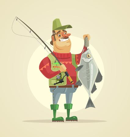 Caractère de pêcheur heureux tenir gros poisson. Illustration de dessin animé plane vectorielle Banque d'images - 73399483