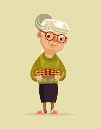 Granny character hold pie. Vector flat cartoon illustration