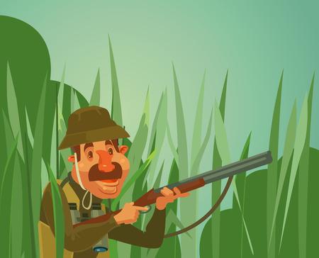 rifleman: Hunter man character hunt ducks. Vector flat cartoon illustration