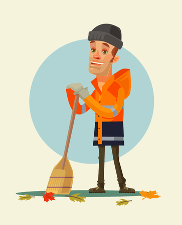 yards: Happy smiling yardman character sweeping leaves. Vector flat cartoon illustration Illustration