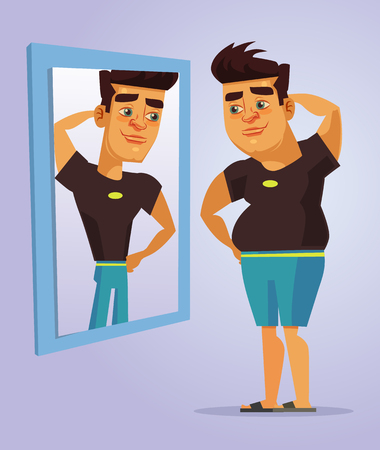 overweight: Fat man character pretend to be strong man in mirror. Vector flat cartoon illustration