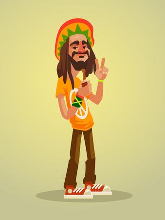 peace pipe: Cute happy Rastafarian man character. Vector flat cartoon illustration