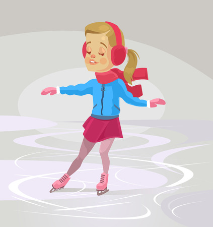 school years: Little smiling girl character skates. Vector flat cartoon illustration