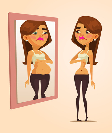 Thin woman looking at mirror and seeing fat woman. Vector flat cartoon illustration