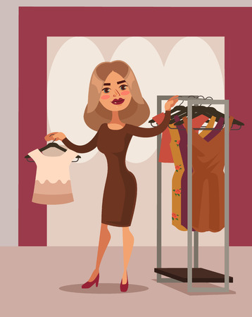 Woman character can not choose dress. Vector flat cartoon illustration