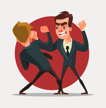 knocking: Businessmen characters fight. Vector flat cartoon illustration Illustration