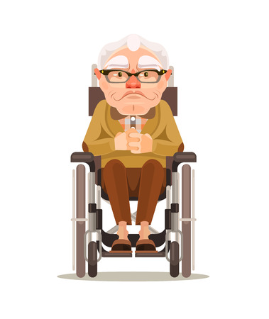 invalid: Happy smiling old man character sitting in wheelchair. Vector flat cartoon illustration Illustration