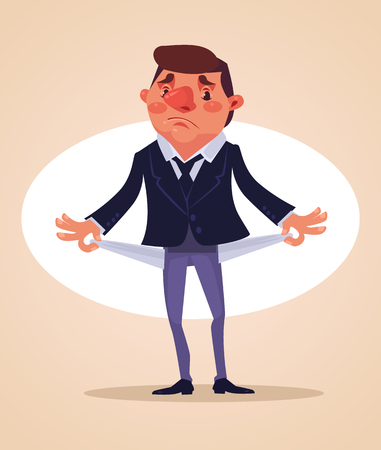 depressive: Poor office worker character. No money. Vector flat cartoon illustration