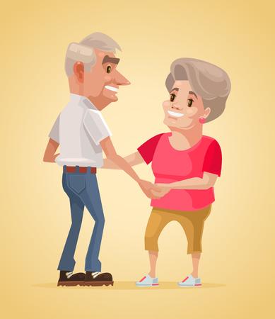 mid adult men: Happy smiling grandparents characters dance. Vector flat cartoon illustration