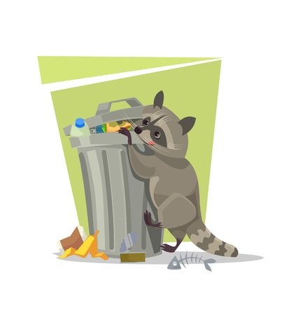 Raccoon character looking for food in trash can. Vector flat cartoon illustration Illustration