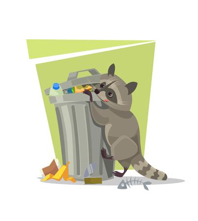 Wasbeerkarakter die voedsel in vuilnisbak zoeken. Vector platte cartoon afbeelding
