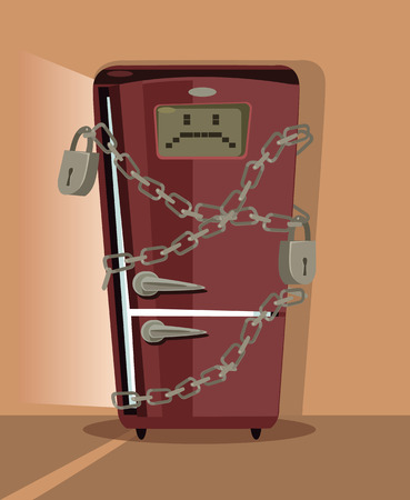 icebox: Sad refrigerator character locked with chain. Vector flat cartoon illustration