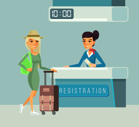 Tourist woman character registers for flight. Vector flat cartoon illustration Illustration