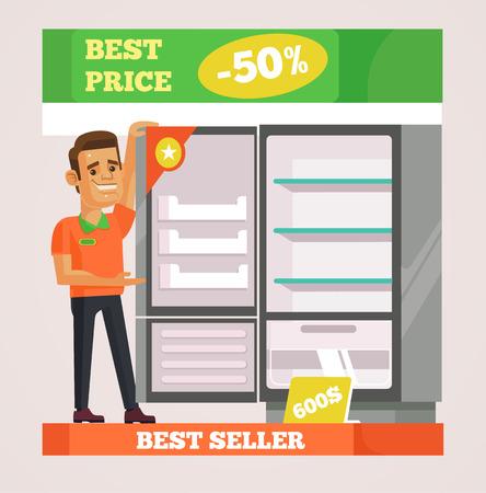 Shop assistant man character selling appliances. Vector flat cartoon illustration
