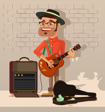 bard: Street performer man character sing song. Vector flat cartoon illustration Illustration