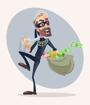 Robber man character stole money and jewelry. Vector flat cartoon illustration Illustration
