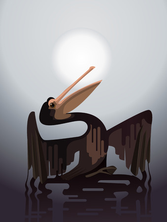 Bird stained with oil. Pollution of environment. Vector flat cartoon illustration