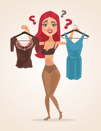 Woman character chooses what to wear. Vector flat cartoon illustration