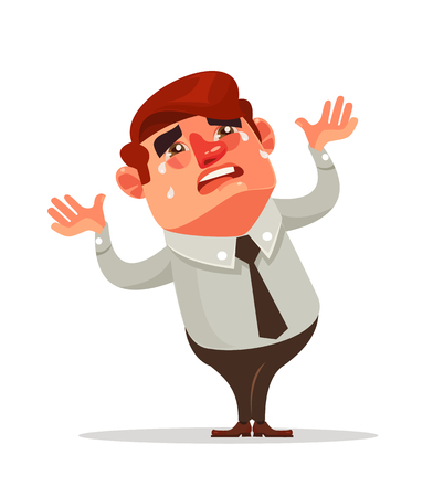 Businessman office worker character crying. Financial crisis. Vector flat cartoon illustration