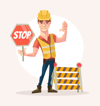 Road worker man character holds stop sign. Vector flat cartoon illustration