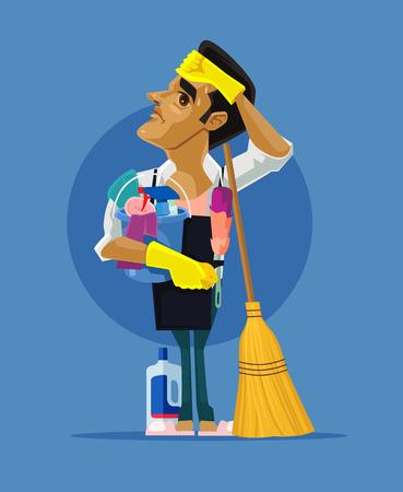 Personnage triste homme fatigué nettoyant la maison. Illustration de dessin animé plane vectorielle