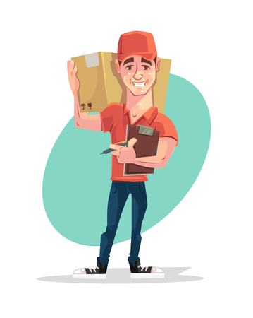 package deliverer: Delivery man courier character hold box. Vector flat cartoon illustration