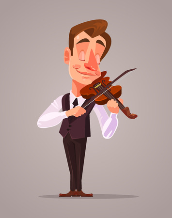 Violinist man character playing music. Vector flat cartoon illustration Çizim