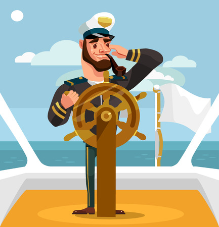 Smiling happy captain character at helm. Vector flat cartoon illustration