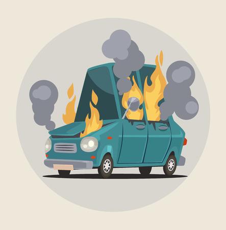 Burning car. Transportation accident. Vector flat cartoon illustration Illustration