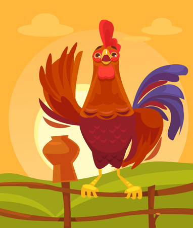 Happy rooster character crows in the morning. Vector flat cartoon illustration