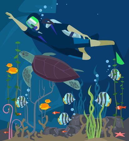 deep sea diver: Scuba diving. Sea life. Vector flat cartoon illustration