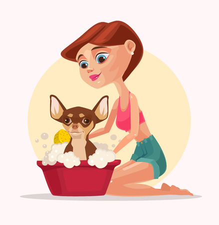 groomer: Happy smiling dog character takes bath with woman owner. Vector flat cartoon illustration