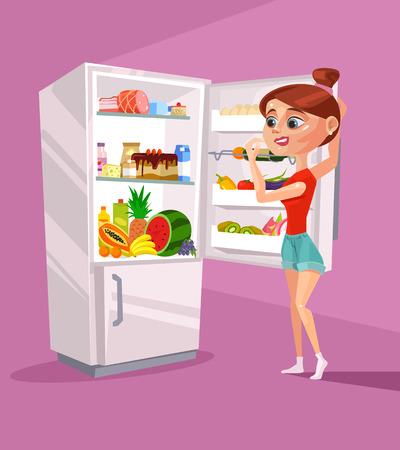 fridge: Woman character near refrigerator thinking what to eat. Vector flat cartoon illustration