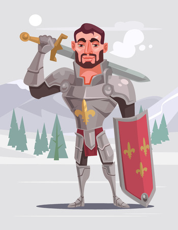 Handsome brave smiling knight character. Vector flat cartoon illustration