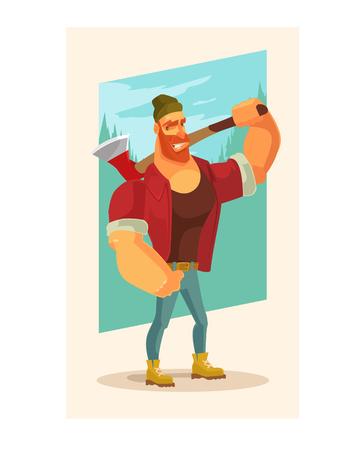 Lumberjack man mascot character hold axe. Vector flat cartoon illustration