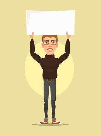 Man character protest. Vector flat cartoon illustration