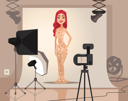 photography session: Smiling woman model character shooting. Vector flat cartoon illustration