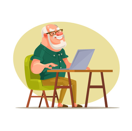 Elderly man character chatting on network. Vector flat cartoon illustration Illustration
