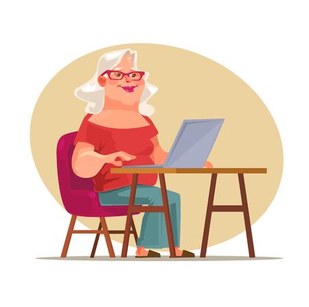 older woman smiling: Elderly woman character chatting on network. Vector flat cartoon illustration Illustration